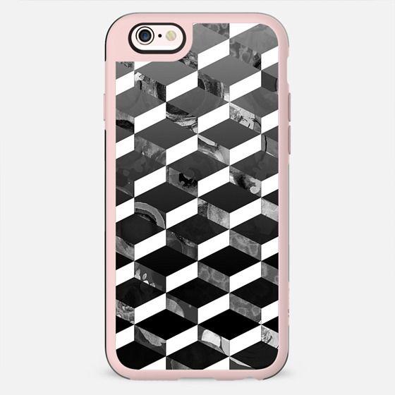 Monochrome marble 3D geometric pattern