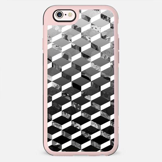 Monochrome marble 3D geometric pattern gradient