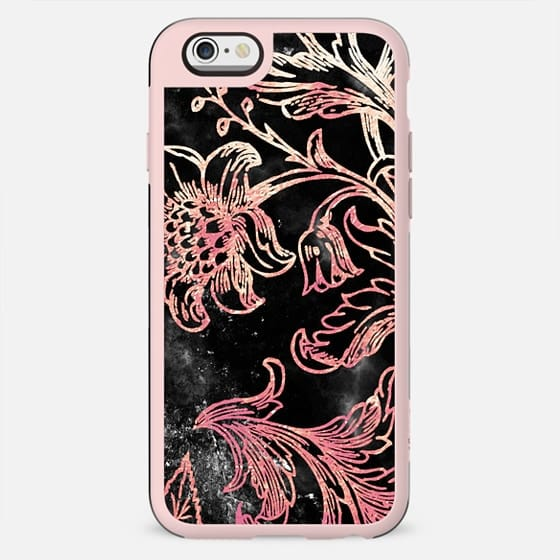 Golden line flowers on black marble - New Standard Case