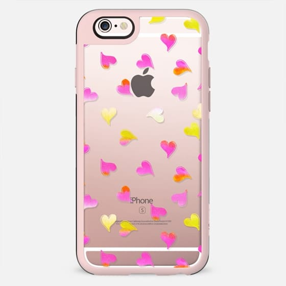 Pink yellow gradient hearts clear