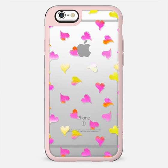 Pink yellow gradient hearts clear case - New Standard Case