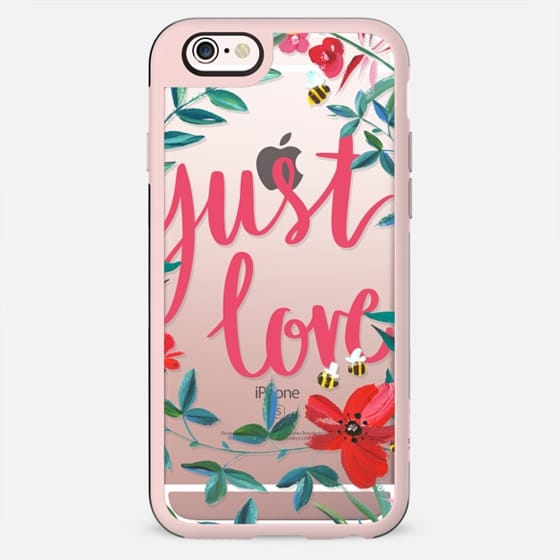 Just love painted flowers and bees clear case - New Standard Case