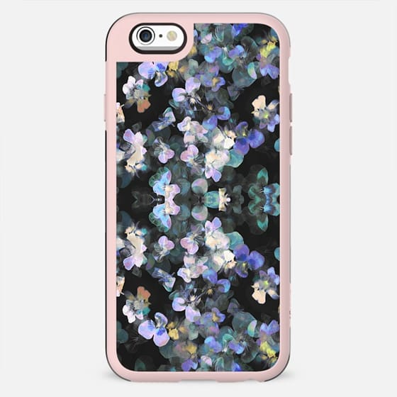 Painted faded pansy petals on dark background - New Standard Case