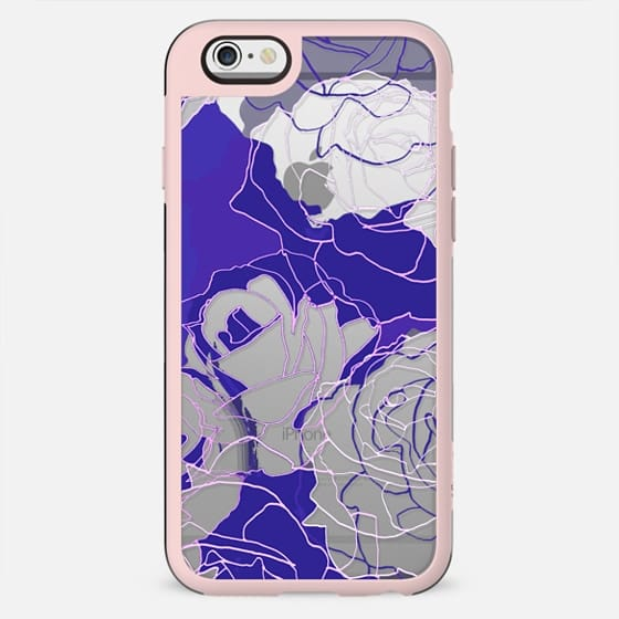 Dark purple blue line art roses - New Standard Case