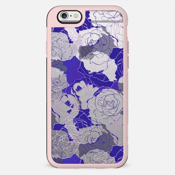 Dark purple blue line art roses clear
