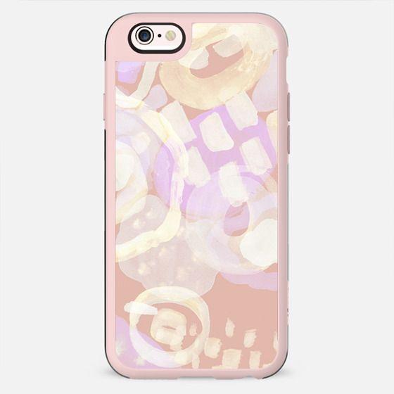 Pastel peach violet watercolor doodle spots