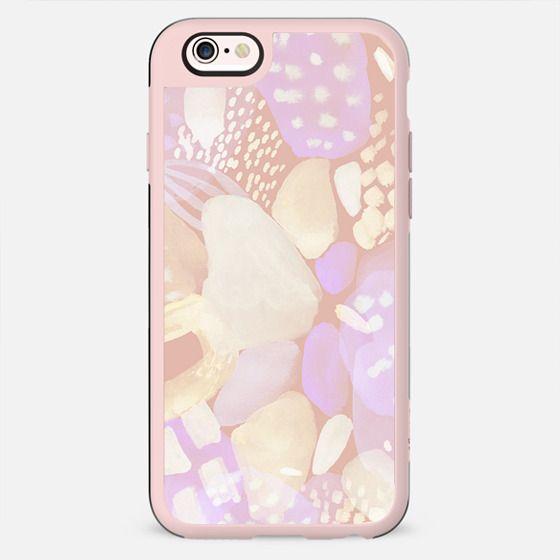 Pastel peach violet watercolor doodle spots - New Standard Case
