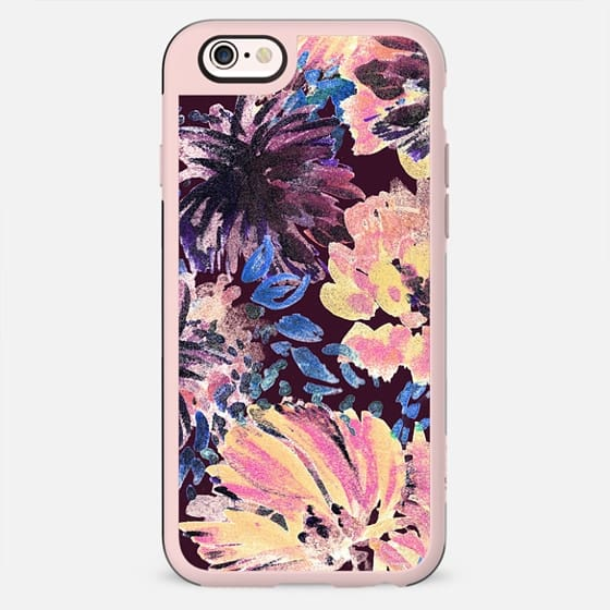 Colorful painted flowers - stylised brushed petals - New Standard Case