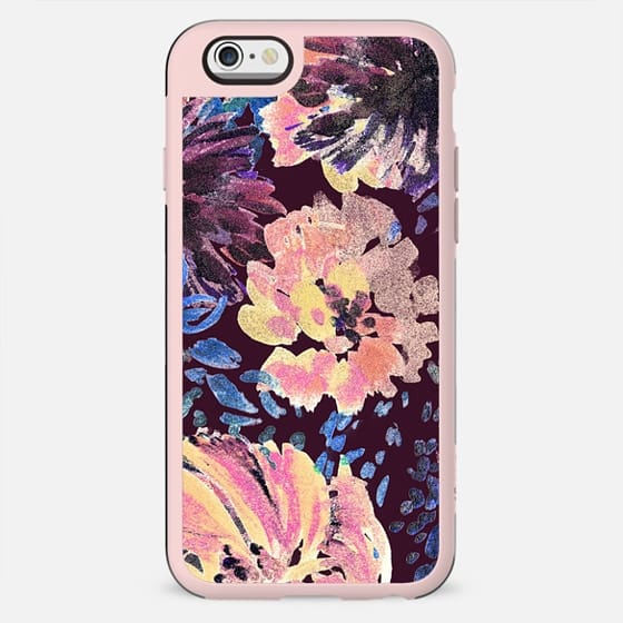 Colorful painted flowers - stylised brushed petals