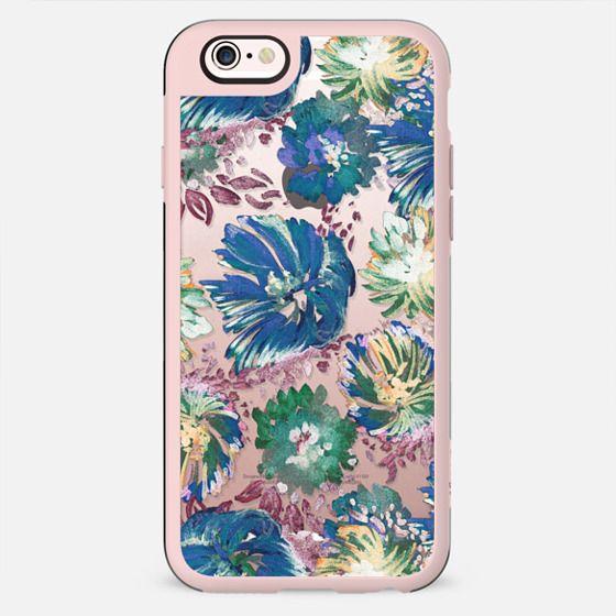 Transparent blue painted flower petals - New Standard Case