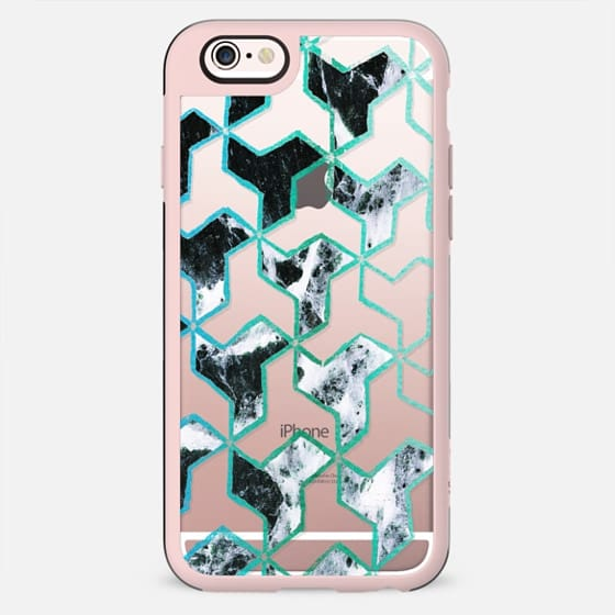 Geometric marble collage pattern blue turquoise - New Standard Case