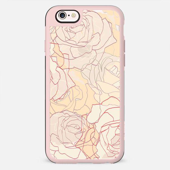 Pastel line art roses elegant print transparent - New Standard Case