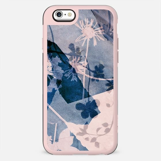 Minimal Cyanotype flowers on torn paper - New Standard Case