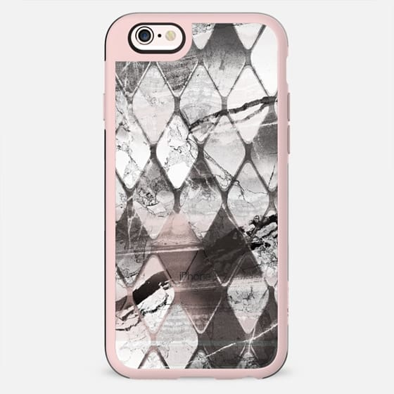 Grey marble tile clear case