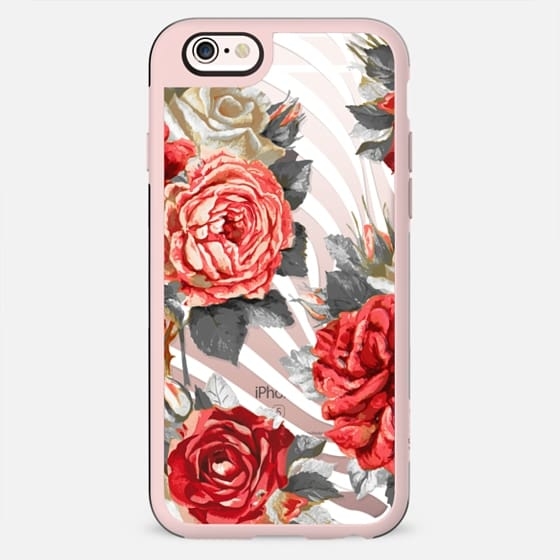 romantic roses and white stripes