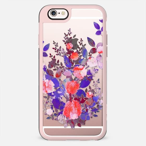 Painted purple red roses clear case