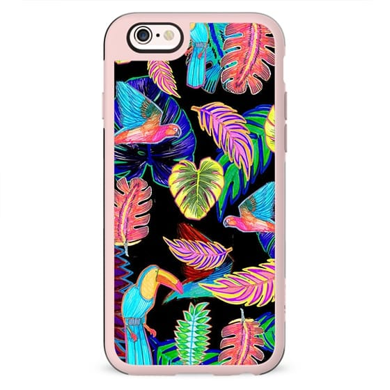 colourful neon tropical sketched patches