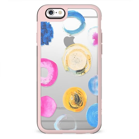 Colourful watercolor dots - clear case