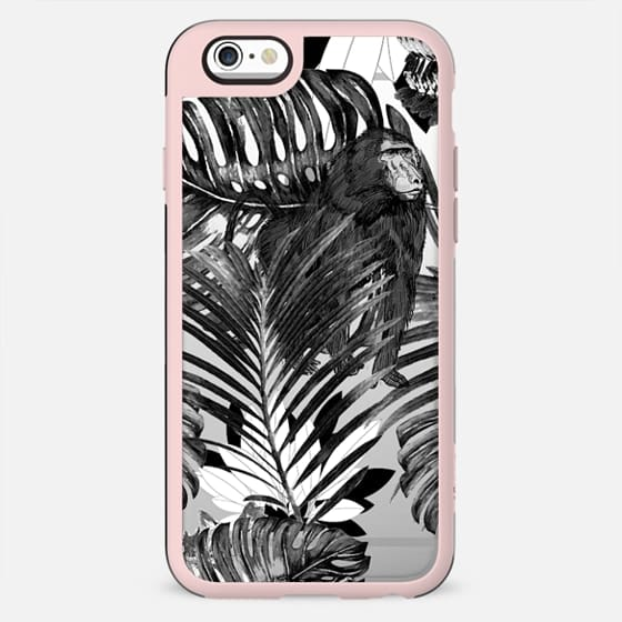 Black and white jungle leaves and monkey