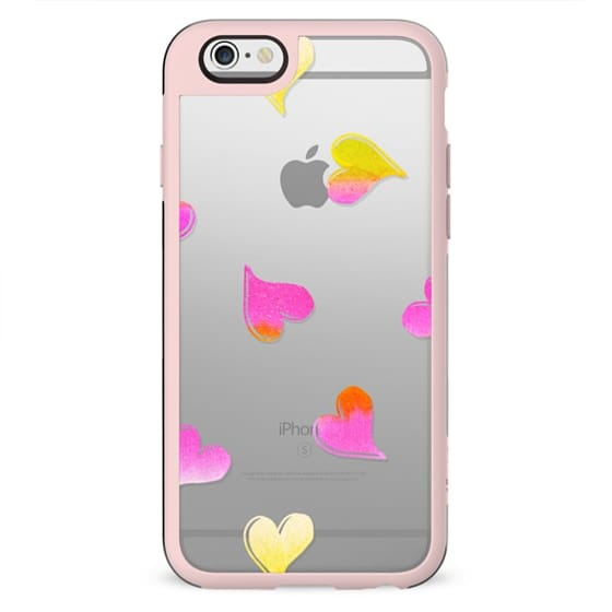 Pink watercolor hearts clear