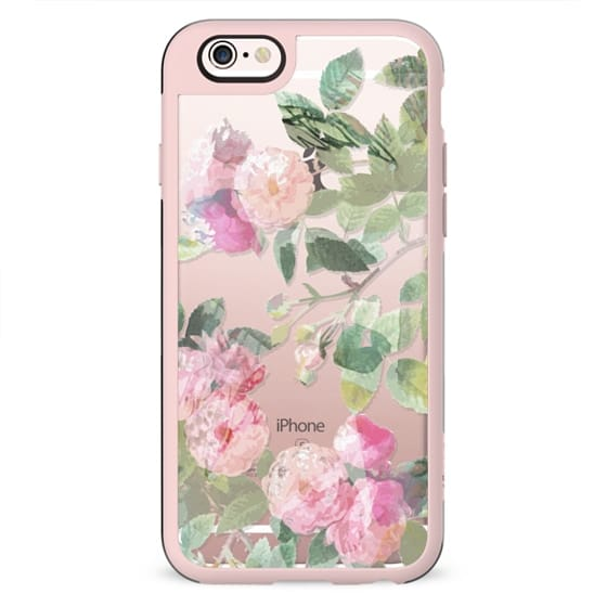 Watercolor pastel roses clear case
