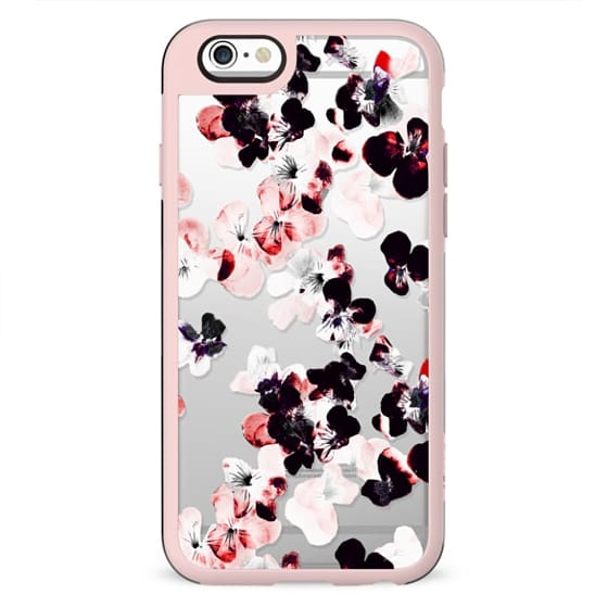 Black - pink pansy petals clear case