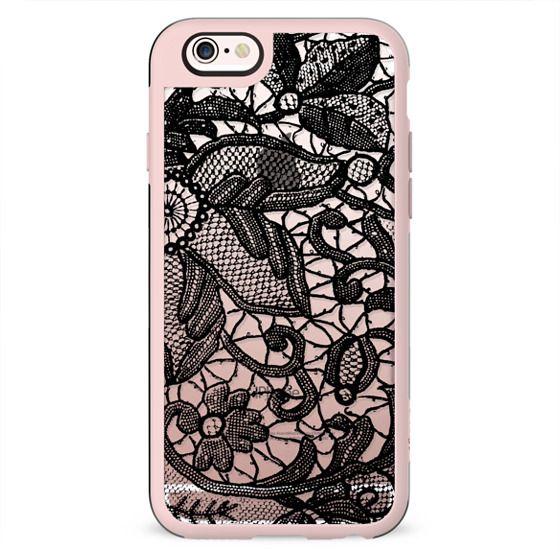 Black elegant lace clear case