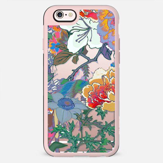 Colourful line art floral illustration