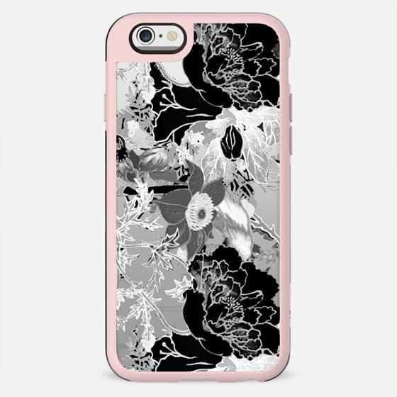 Black and white clear case floral illustration - New Standard Case