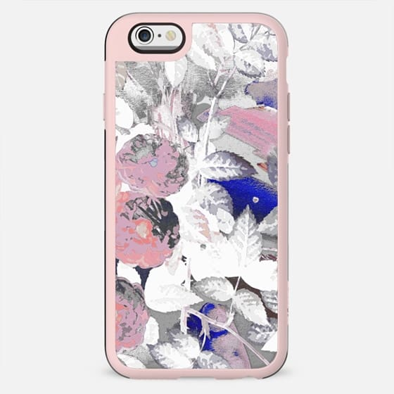 White pink painted roses clear case