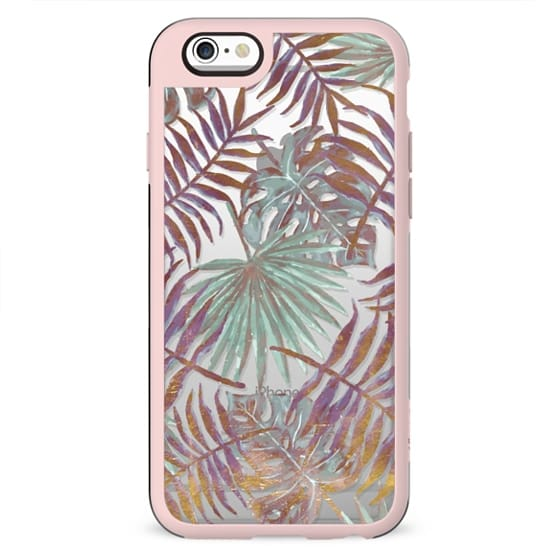 Pastel and golden painted palm, ficus leaves