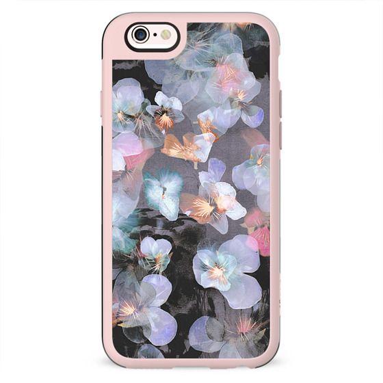 Transparent painted blue pansy petals