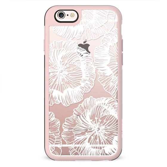 White flowers line clear case