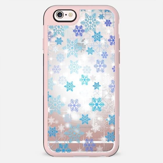 Blue white snowflakes sparkle 2