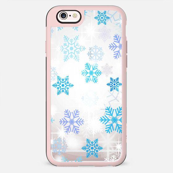 Blue white snowflakes sparkle II