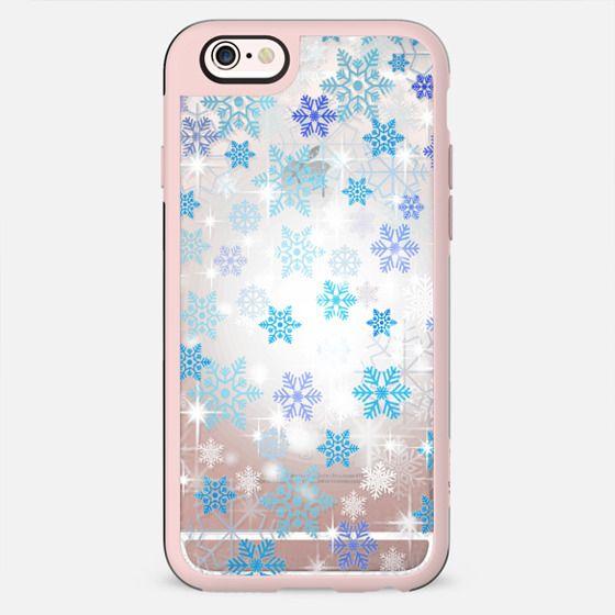 Blue white snowflakes sparkle clear case