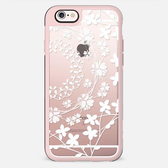 White florals clear case - New Standard Case