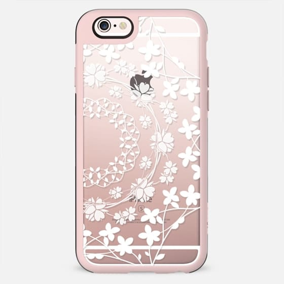 White floral mandalas clear case