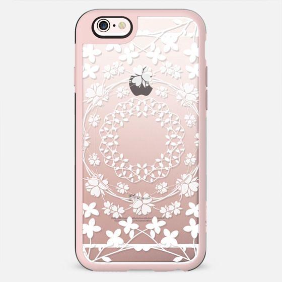 White floral mandalas clear case - New Standard Case