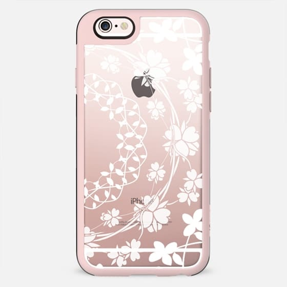White floral lace clear case - New Standard Case