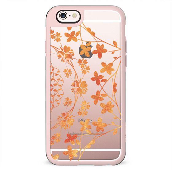 golden floral lace clear case