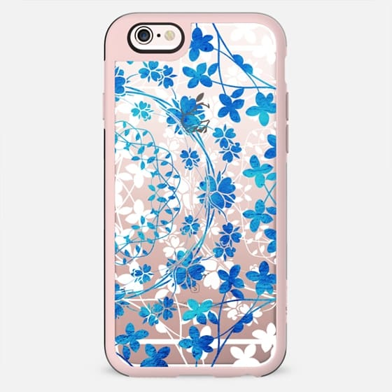 Blue white floral lace clear case