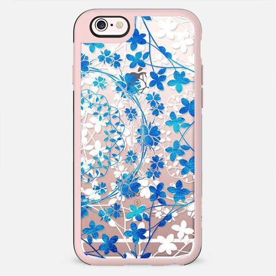 Blue white floral lace clear case