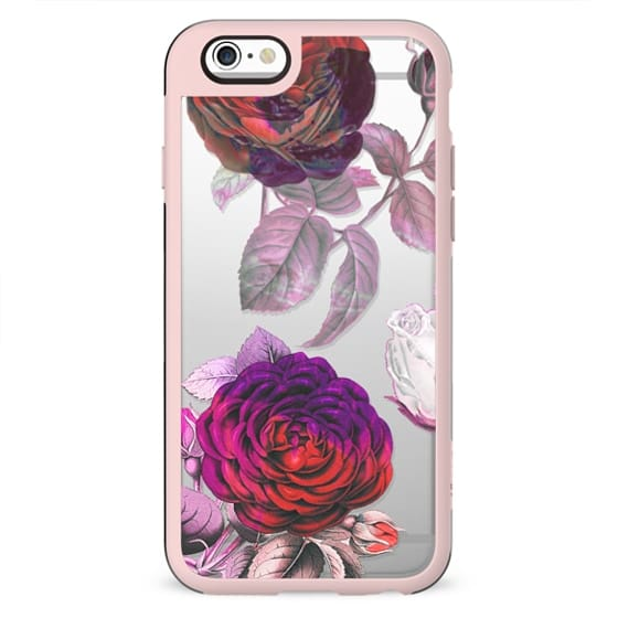 Red pink roses vintage clear case