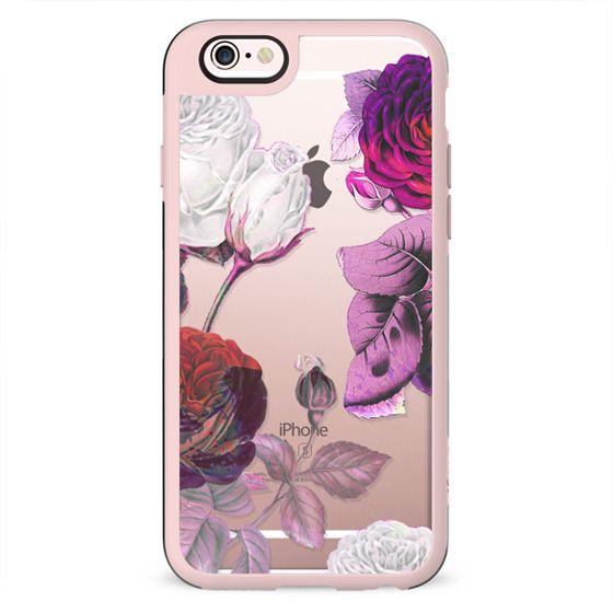 White pink roses petals