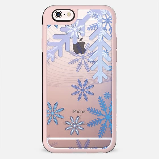 Baby blue ice snowflakes clear case