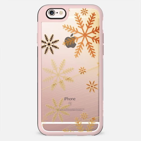 Golden snowflakes clear case