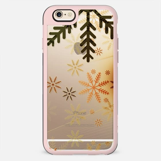 Golden patina snowflakes clear case