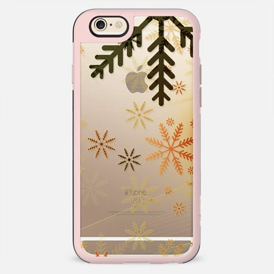 Copper snowflakes clear case