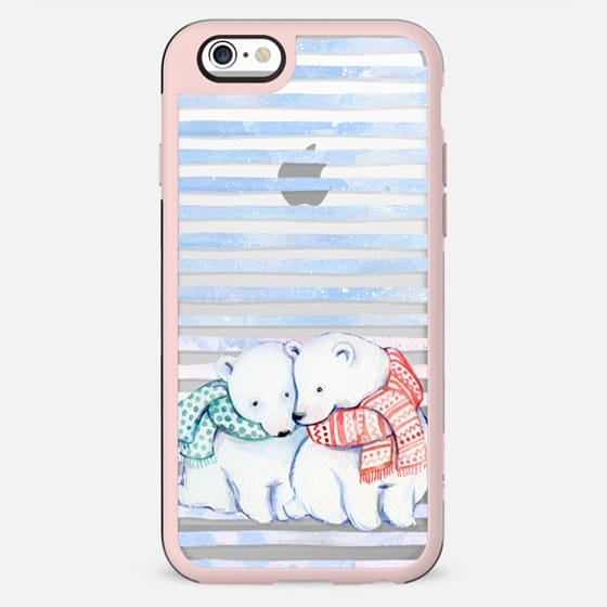 Cute cuddling polar bears - winter clear case